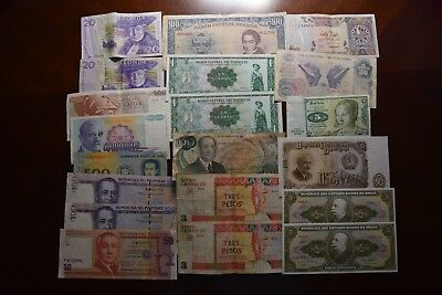 Lot of 20 Vintage Mixed Foreign World Currency Paper Money