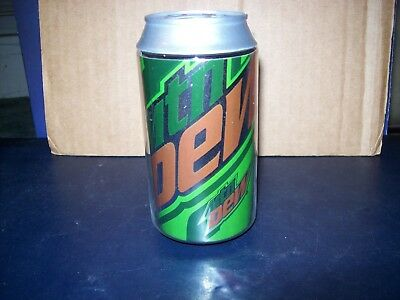 """Mountain Dew Plastic Soda Can Coin Bank Screw On Top 4 3/4"""" Tall Great Condition"""