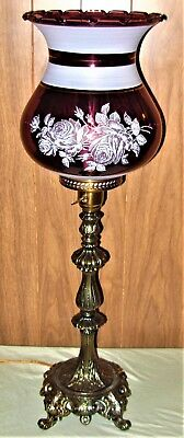 Large Gorgeous Vintage Amethyst Glass Torche Victorian Table Lamp