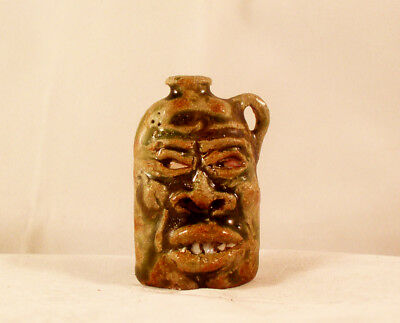 FACE JUG PIN WHIMSEY, (Green) High Fired Stoneware by Berdej
