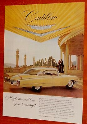 1960 Cadillac Series 62 Sedan De Ville In Yellow Vintage Ad - American Classic