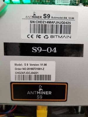 Antminer S9 12.93TH - IN HAND READY TO SHIP - For Parts AS IS
