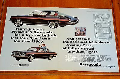 Fantastic 1964 Plymouth Barracuda Large Ad - 60 American Classic Car Auto