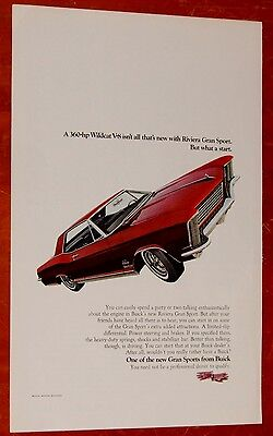 Sharp 1965 Buick Riviera Gran Sport Gs Ad + Panagra Airline Ad On Back / Vintage