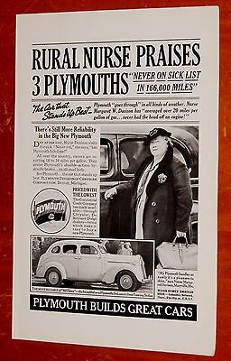 Nurse For 1938 Plymouth Touring Sedan Vintage Ad - 1930S American Retro 30S