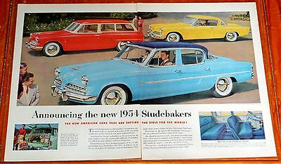 Large 1954 Studebaker Commander Champion Vintage Ad - Sedan Coupe Wagon 50S