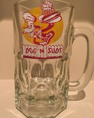 "Vintage Dog ""N"" Suds Clear Glass Root Beer Mug Drive-In"