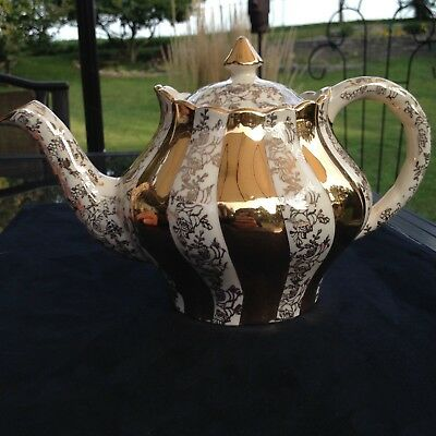 Arthur Wood PRINCE Gold Swirl and Rose Filigree tea Pot,  REDUCED SHIPPING
