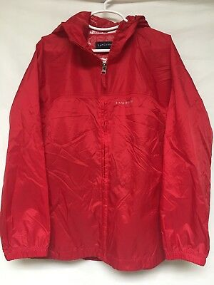 Lands' End Kids Full Zip Nylon Hooded Raincoat Jacket Youth Small YS 7-8 VGUC