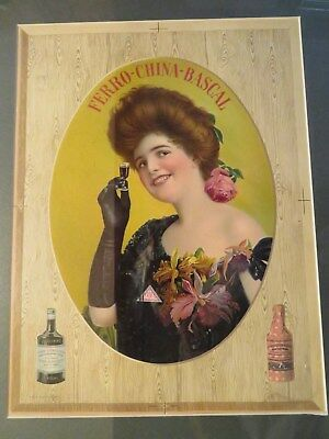 """""""ferro-China-Bascal"""" Bitters Advertising Sign - Lovely Lady - Dated 1906"""