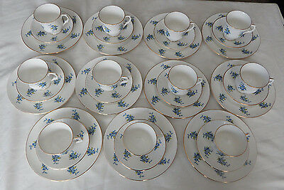 """11 Trios Staffordshire England """"majestic Choice"""" Cup, Saucer, Plate Blue Flowers"""