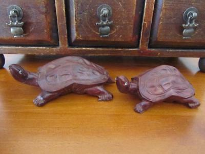 2 x Vintage Hand Carved Wooden TURTLE Ornaments
