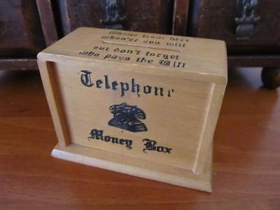 Vintage Wooden MONEY BOX Telephone Calls