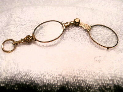 "Victorian Gold Filled ""slider"" Lorgnette Spring-Loaded In Wonderful Condition!"