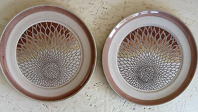 """TWO Denby Stoneware Pottery """"Chantilly"""" 16.5 cm Side Plates Brown / Off White"""