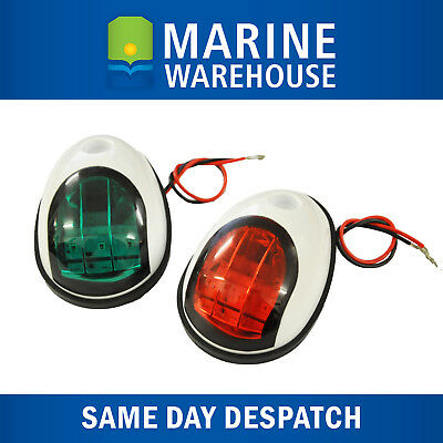 LED Port and Starboard Navigation Lights Pair White Plastic Shroud 705159