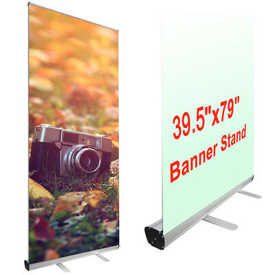 39.5 x 79 In. Aluminum Retractable Rollup Banner Stand Adjustable Display w/Bags