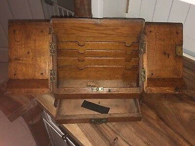 Vintage Oak Stationary / Writing Box With Drawer