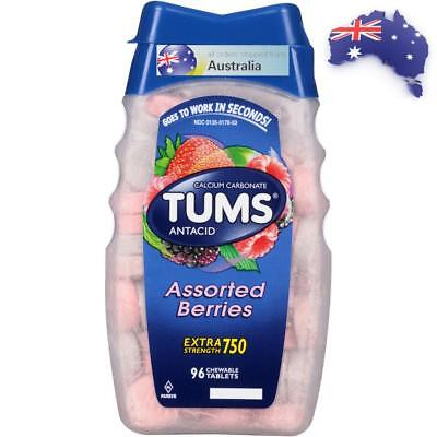 Tums Extra 750 Maximum Strength Assorted Berries Antacid Calcium Tablets Qty 96