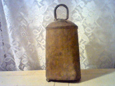 Vintage antique rustic primitive large metal cow bell riveted iron hand forged
