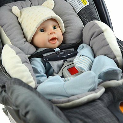 Reversible Organic Cotton Infant Head Support Stroller Car Seat Insert Bouncer