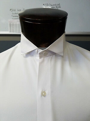 Pre-owned white formal Tuxedo shirt.  Wingtip collar.  Plain Flat front.   104