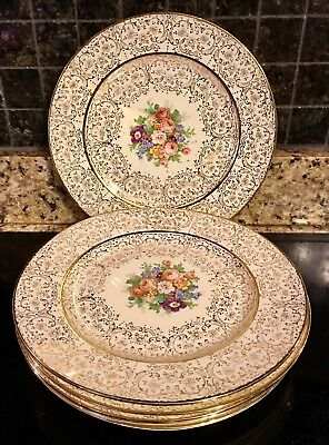 Edwin M. Knowles USA (Lafayette China) 22 KT GOLD Set of 6 Dinner Plates
