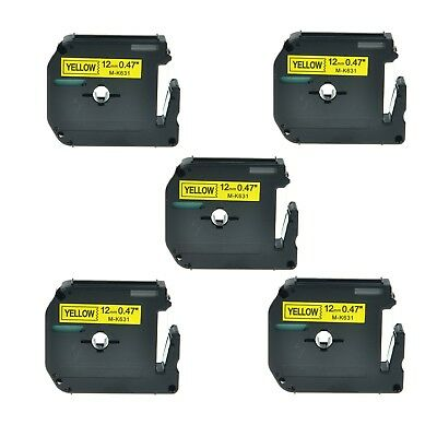 """US STOCK 5PK MK631 M-K631 Black on Yellow Label Tape for Brother P-Touch 1/2"""""""