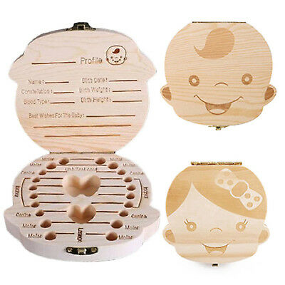 1PC Creative Personalized Wooden Fairy Tooth Box Organizer For Baby Boy Girl HI