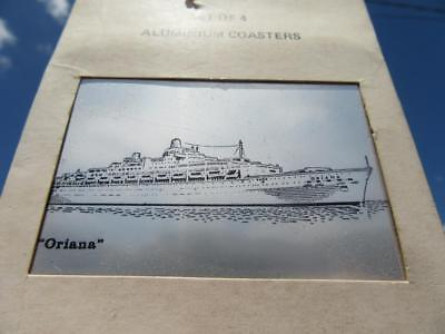 1959-1986 S.S. Oriana Set of 4 Aluminium Souvenir Coasters in Box Orient & P&O.