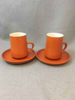 Honiton Pottery Coffee Cups & Saucers X 2 Retro Orange / Rust