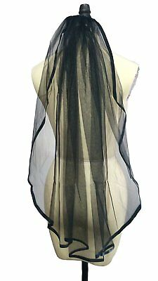 Dobelove Womens Black Ribbon Edge with Comb 1 Tier Wedding Veil