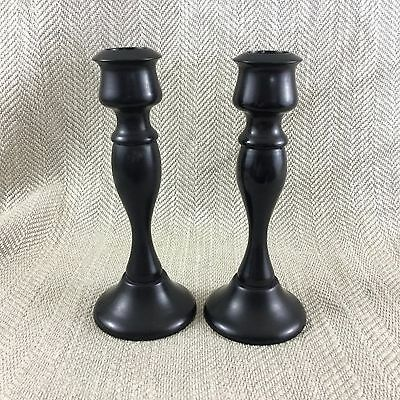 Antique Victorian Candlesticks Wooden EBONY Wood Turned Pair Candle Holders