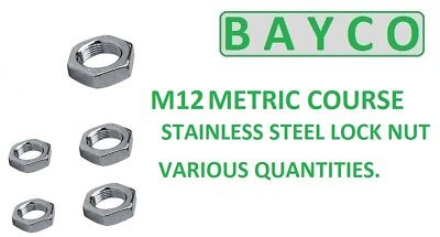 M12 (12Mm) Hexagon Lock Nut In A2 Stainless Steel. Half Nut Din439 Various Qtys