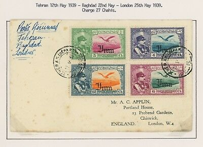1939 Midle East Cover Airmail Tehran Baghdad London, 4 Color Adhesives, Lovely!