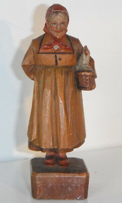Vintage ANRI Lady Wood Carving WOMAN CARRYING HEN CHICKEN in BASKET Figurine