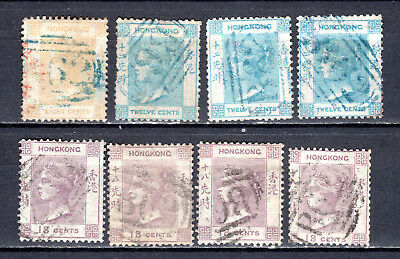Hong Kong China 1862 Qv (No Wmk) Selection Of Used Stamps Pmk Interest