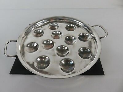 Vintage French Art Deco Silver Escargot Serving Platter Tray Dish, c1930s