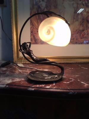 New Art Nouveau Figural Nautilus Shell And Bronze Table Lamp After Gurschner