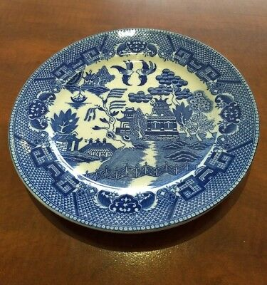 3 x Vintage Blue Willow Dinner  Plates MADE IN JAPAN