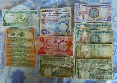 17 Banknotes from Africa, Middle East & Malta