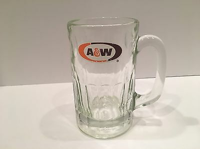 Vintage A&W Root Beer Thick Walled Heavy Glass Mug with Decal