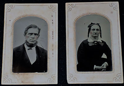 Vintage Pair of 1800's 1/6th Tintype of Husband & Wife /Paper Holders