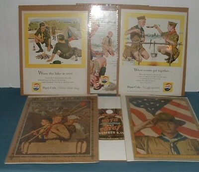 (6) Boys Scout Of America Posters & Pepsi Cola Ads Lot - 1940's & 1950's - Used