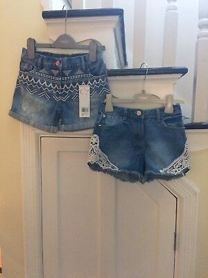 2 pairs girls denim shorts age 7-8