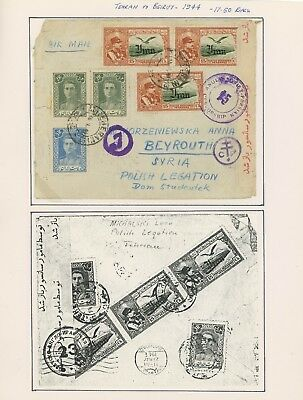 1944 Beirut Censor Cover Ww2 Anglo-Soviet Occupation Tehran Polish Legation-Rare