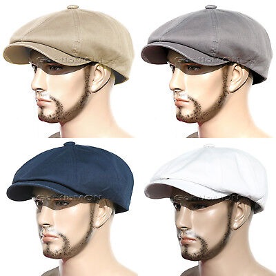 Washed Cotton Gatsby 8 Panel Newsboy Cap Golf Driving Flat Cabbie Hat ~CT8