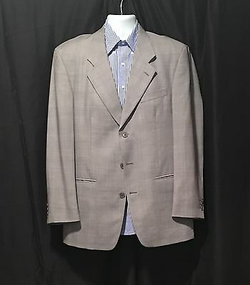 Yves Saint Laurent YSL Gray Plaid Microcheck Three Button Sportcoat Blazer 40R