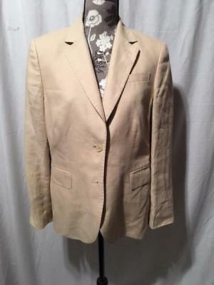 Brooks Brothers 346 Women's 100% Linen Beige Blazer With Two Buttons Size 8