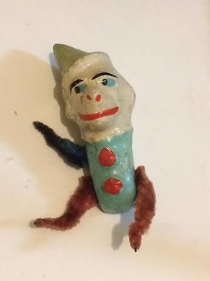 Antique paper mache monkey head with chenille arms